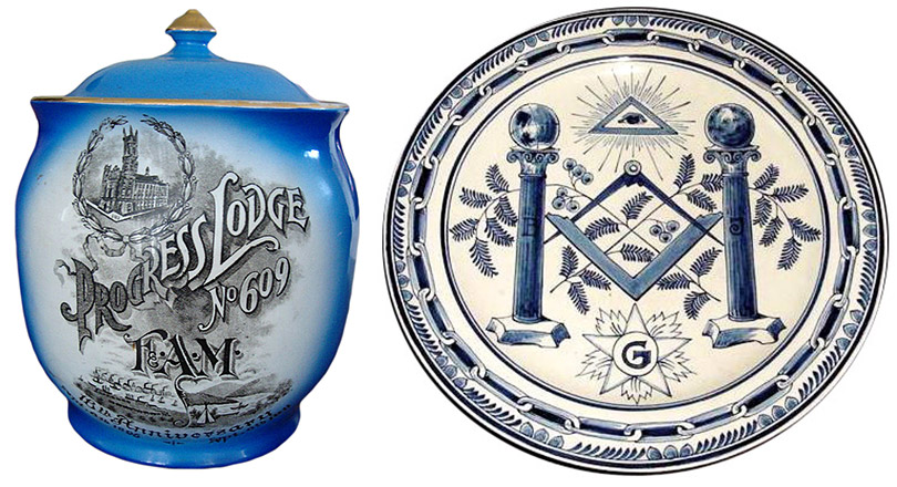 Left, this Maddocks tobacco jar commemorates the 125th anniversary of the Grand Lodge of Pennsylvania in 1911. Right, this 1800s Delft plate is adorned with Masonic symbols. Via Phoenixmasonry.org.