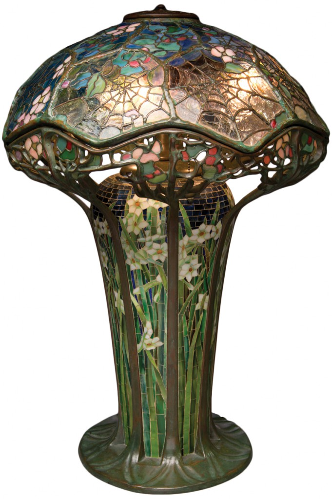 Priceless tiffany collection flees one earthquake zone lands in this cobweb table lamp aloadofball Gallery