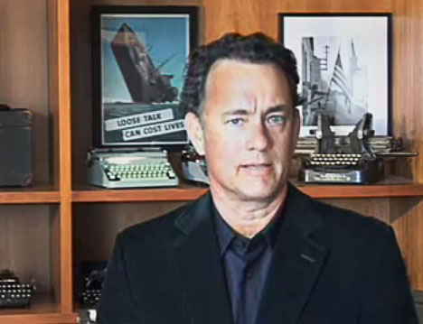 Top: Richard Polt suspects Hanks could be wooed with a rare 1950s Olivetti Graphika. Via Writing Ball. Above: Tom Hanks stood in front of his typewriter collection when he made a video endorsing President Barack Obama in 2008.