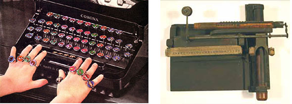 Other rare and valuable 20th-century typewriters: a 1930s Animal Key typewriter from Smith Corona, and a 1940s Hogar typewriter from Spain. Via The Virtual Typewriter Museum.