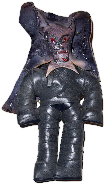 The seller of this handmade tied-leather figure claims it is a Haitian voodoo doll meant to repel evil. Supposedly its body holds graveyard dirt, too.