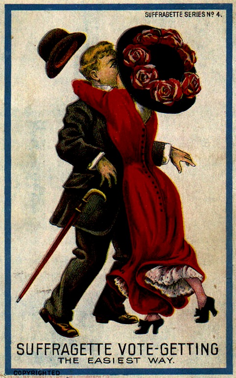 The 1909 Dunston-Weiler set is notable because the Suffragettes are depicted as attractive, but scandalously sexually available. Palczewski, Catherine H. Postcard Archive. University of Northern Iowa. Cedar Falls, IA.
