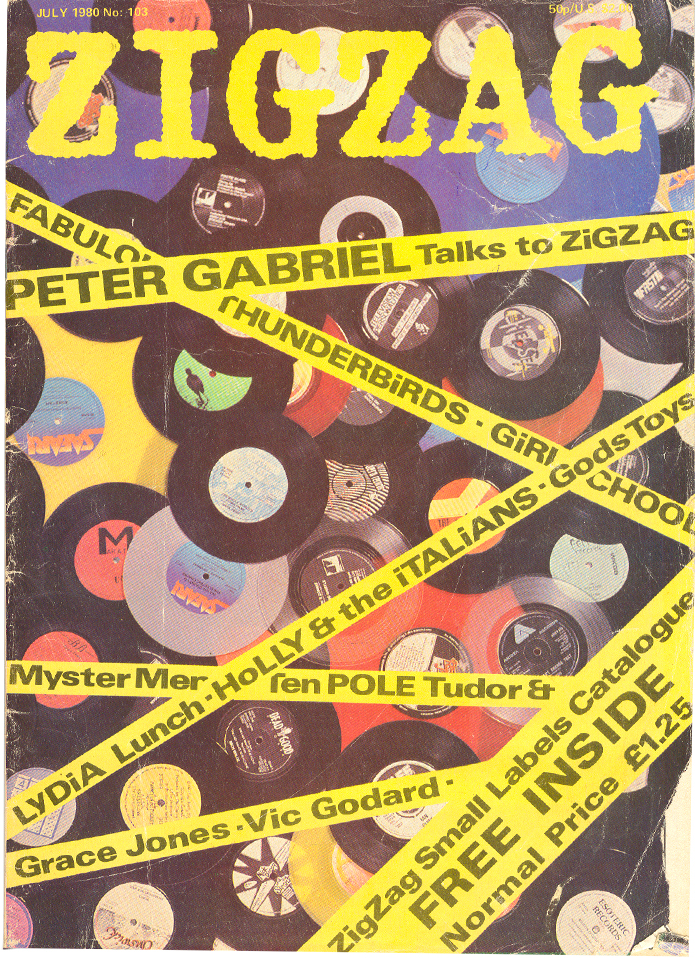A 1980 issue of Zigzag from Simon Reynold's music magazine collection features Peter Gabriel and Grace Jones. Courtesy of Reynolds.