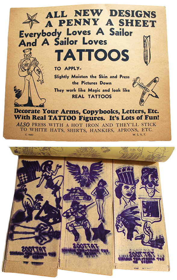 Temporary tattoo products have long banked on the trendiness of sailor tattoos, as seen in this 1940s booklet. Image courtesy Ballyhoo Vintage.