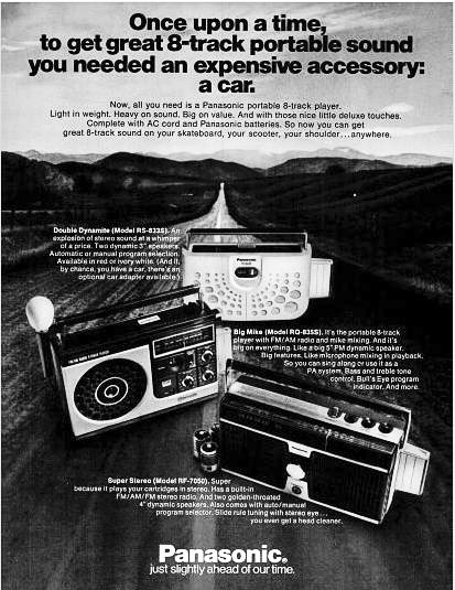 A '70s-era ad for portable players shows the eight-track's evolution from car-stereo to home use.