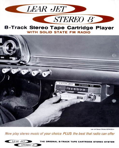 A 1960s advertisement for the Lear Stereo 8 automobile player.