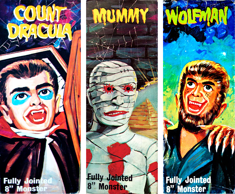 Three box covers for the Lincoln International Monsters, Heiler's favorite series of rack toys.