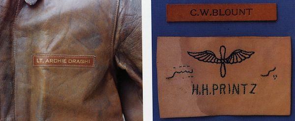 "Left, this name tag for Lt. Archie Draghi, a group lead navigator for the 15th Air Force, used impressed gold leaf. Right, the issue name tag above, and a ""private purchase"" name tag below with the airman's name in English and Farsi."