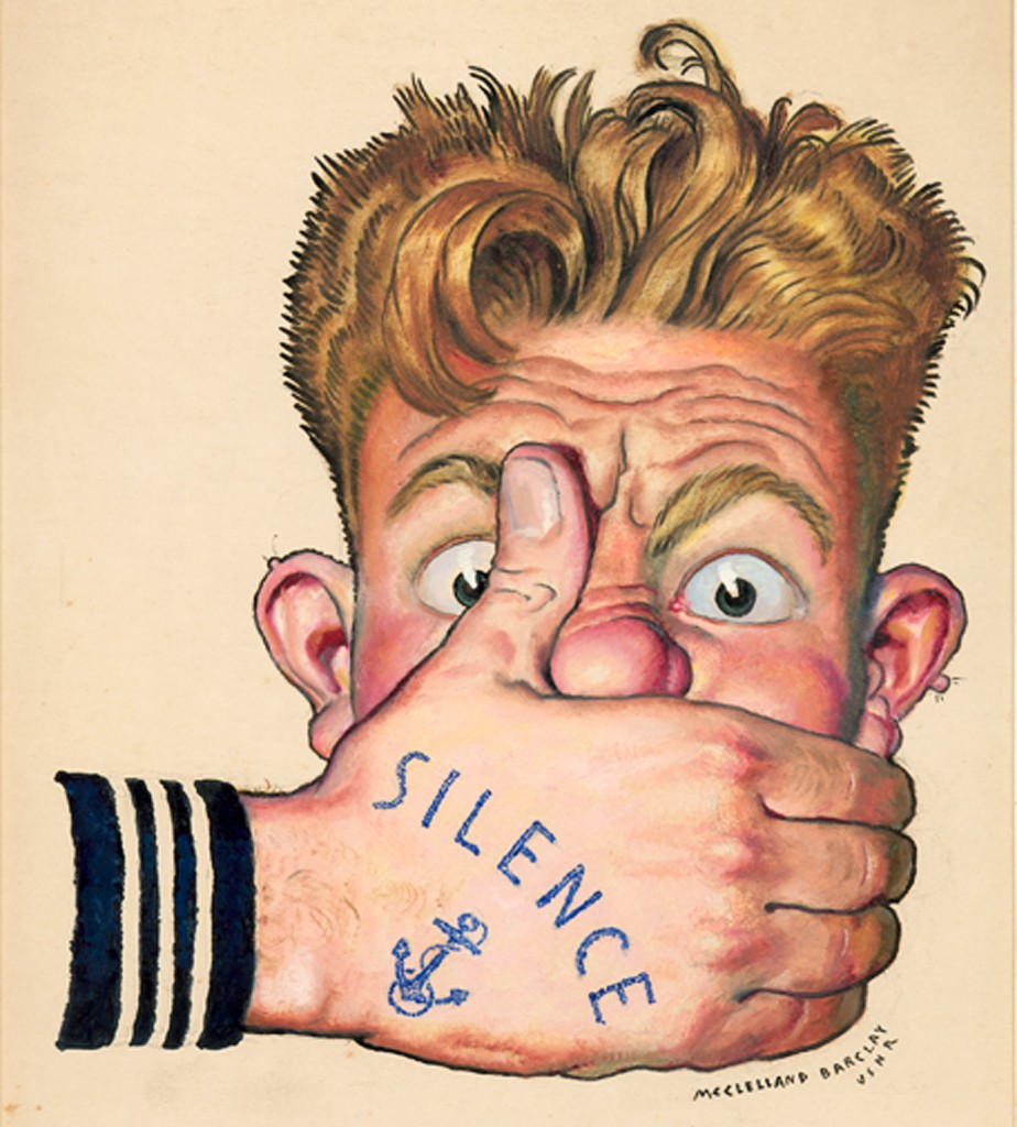 "Even official U.S. Navy posters incorporated the ubiquitous nautical tattoos, like this image from the ""Loose Lips Sink Ships"" campaign of the '40s."