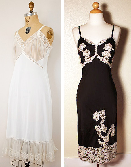 "Top: Clement Micarelli's painting for the 1961 pulp novel ""Sexbound."" Above left: A 1950s slip marked Carol Brent Lingerie. Above right: A black 1950s Satilene slip with cream lace by Kayser Lingerie. Via aslipofagirl.net."