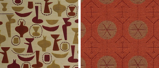 Maharam worked with Irving Harper to reissue two of his 1950 Herman Miller textile prints in 2001, China Shop (left) and Pavement (right), for Maharam's Textiles of the 20th Century line.