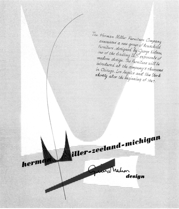 "The first time Irving Harper's wood-grain M logo for Herman Miller appeared was in this 1947 ad. From ""Irving Harper Works in Paper,"" courtesy of the Herman Miller Archive."