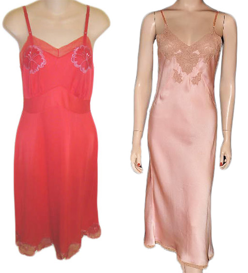 Left, a vintage Charmode slip with pansies on the cups and hem, possibly from the 1960s. Right, a pink silk slip from the 1930s. Via aslipofagirl.net.