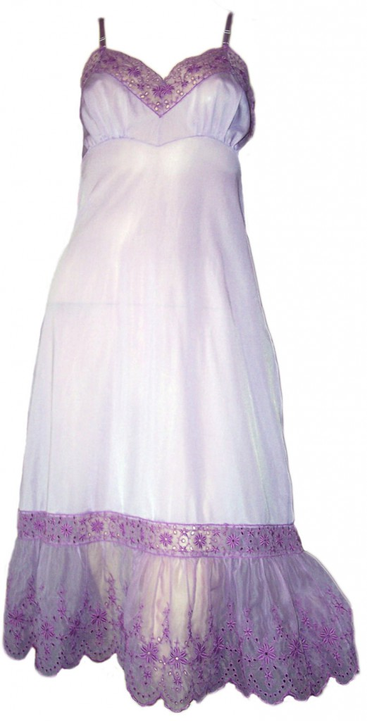 Some vintage connoisseurs frown on custom-dying old lingerie, like this Barbara Lee slip dyed purple, but it can save them from the landfill. Via aslipofagirl.net.