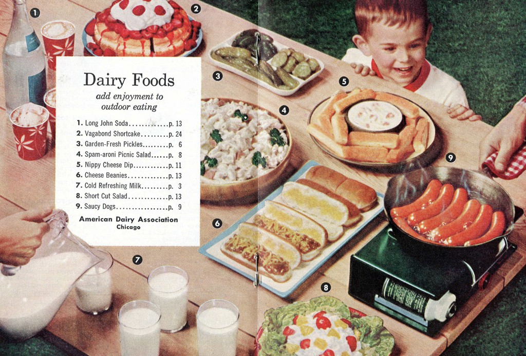 The table of contents page in a promotional cookbook produced by the American Dairy Association.