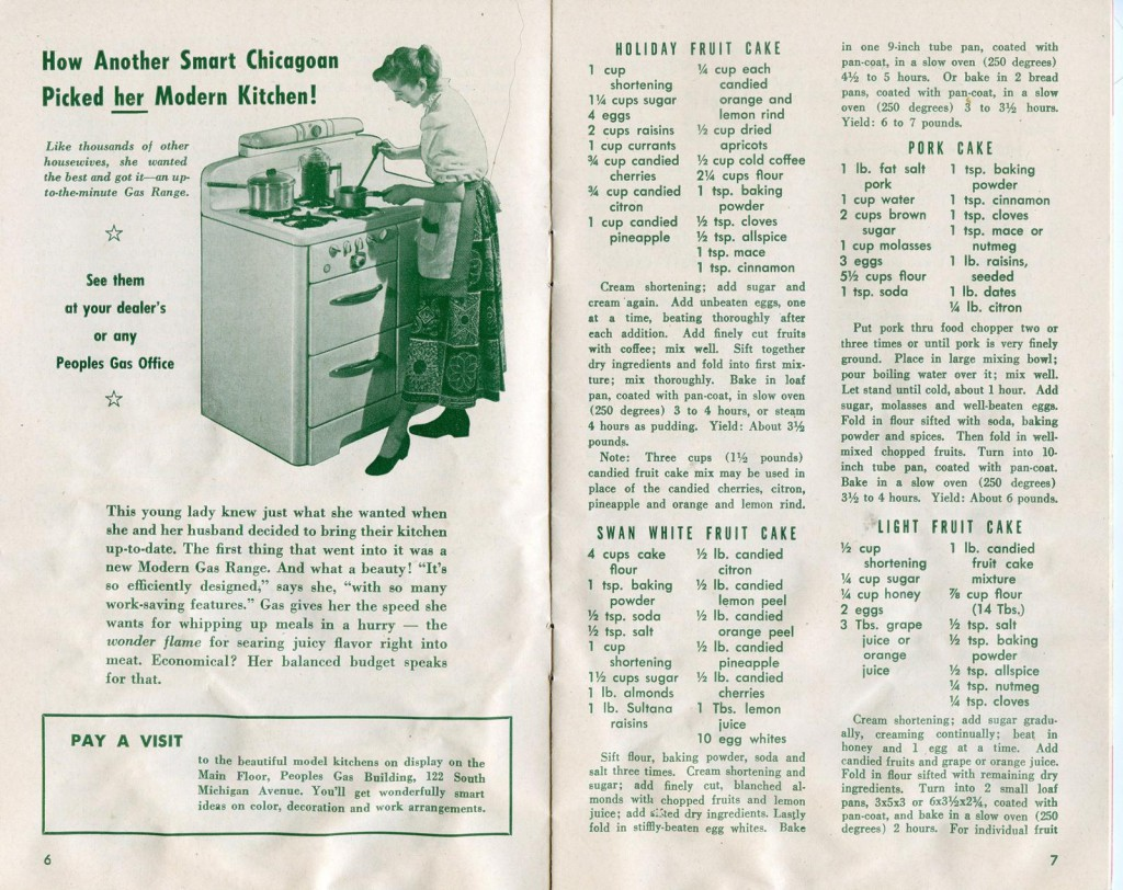 "This spread featuring ""Pork Cake"" shows the variety of cakes that mid-century cooks were familiar with."
