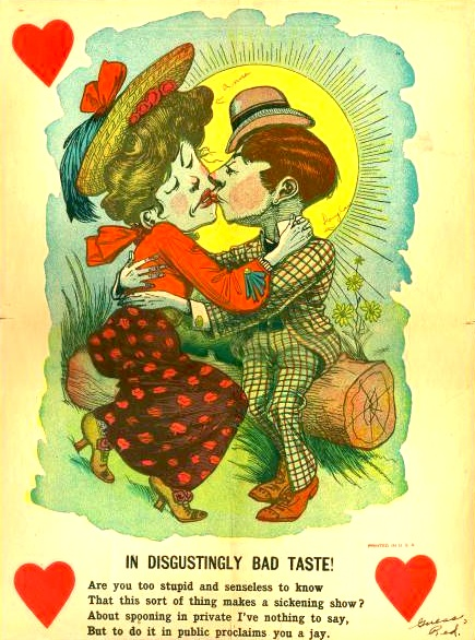 This Vinegar Valentine ranting about a public display of affection is a sheet of paper that you would fold and mail.