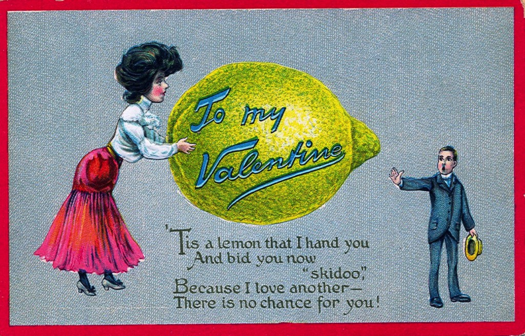 An Edwardian postcard rejecting a potential lover. Via StreetsofSalem.com.