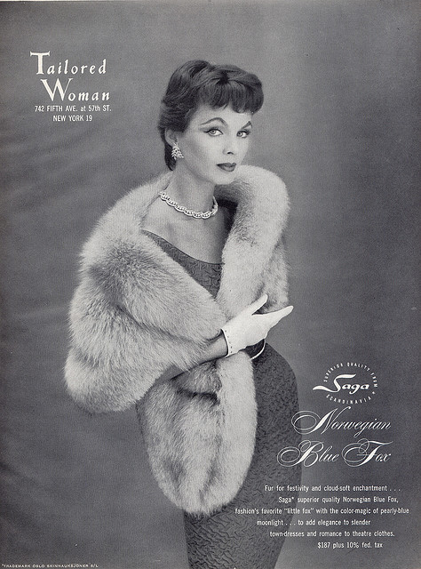 A glamorous ad for Saga Furs was featured in the September 1955 issue of Vogue. (Via Adored-Vintage.blogspot.com)