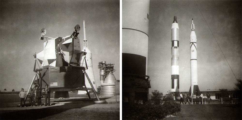 Images taken at Kennedy Space Center in Titusville, Florida, with a Brownie Hawkeye camera found by the Hugheses.