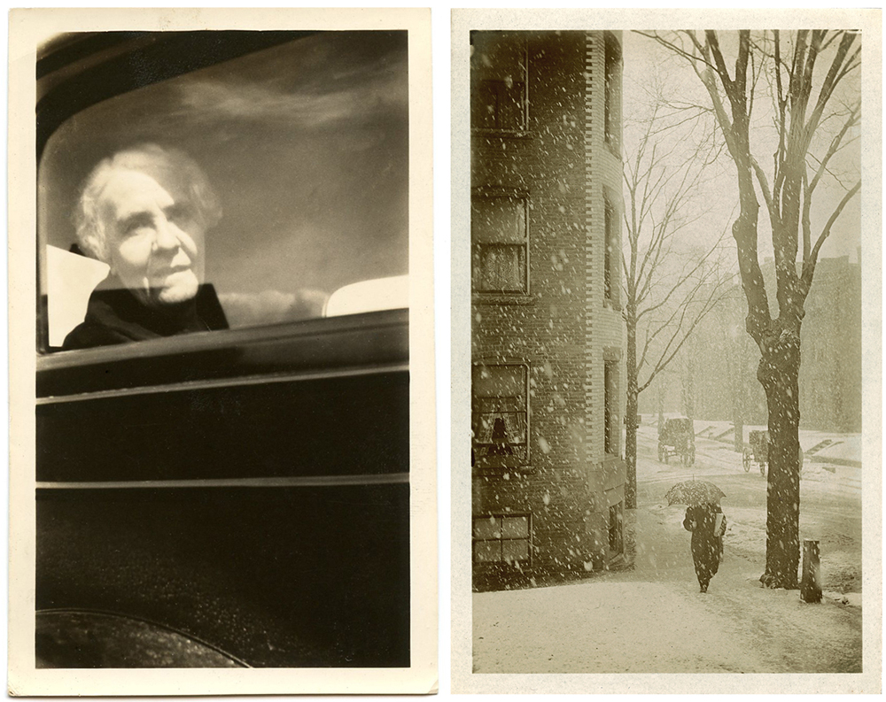 The image at left reminds Foster of FSA photographs taken by Dorothea Lange, while the shot on the right is reminiscent of Alfred Stieglitz's work.