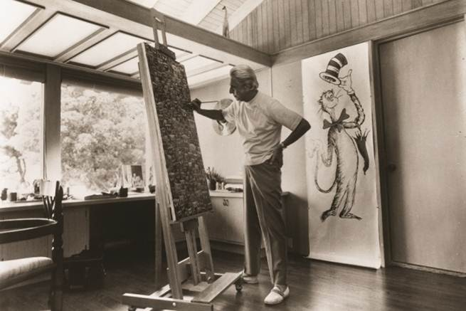 Besides wearing silly hats, Ted Geisel's other method of combating writer's block was to go home and paint. (Courtesy of the Dr. Seuss Estate)
