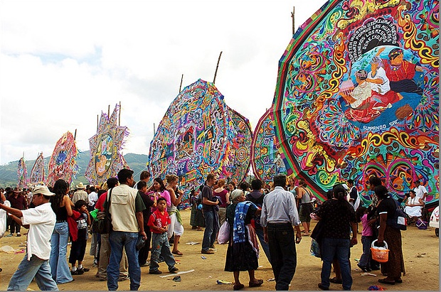 In October, as a way to celebrate the Latin American holiday Dia de Los Muertos, the people of Sampango, Guatemala, build giant kites to honor their dead relatives. Photo by Antonio Lederer, via Creative Commons.