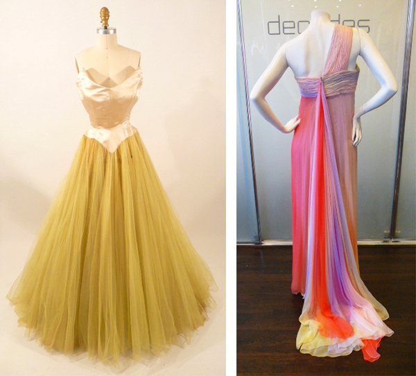 Left, a 1952 gown designed by Cristobal Balenciaga for his Spanish label Eisa was originally owned by American socialite Anne Moen Bullitt. Right, a 1970s chiffon gown by Bill Blass plays with ombre using sunset shades. Via Decades Inc.