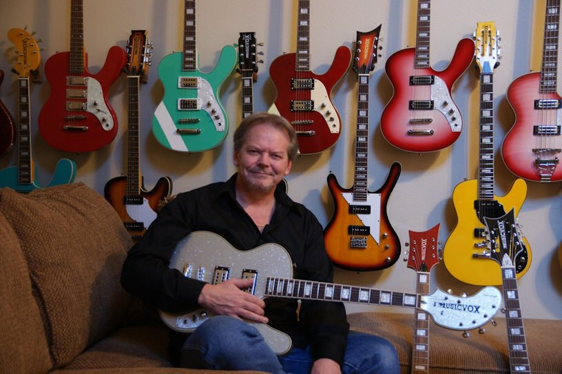 Guitar collector Kevin Smith, with just a few of the 70 or so Musicvox guitars he owns.