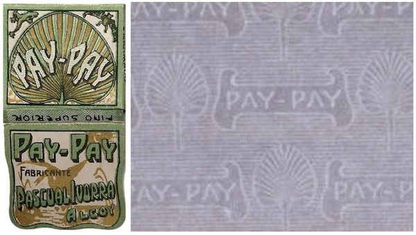 Pay-Pay exported its first rolling papers from Alcoy in 1703. This booket is probably from the early part of the 20th century. At right is a detail of the paper's decorative watermark.