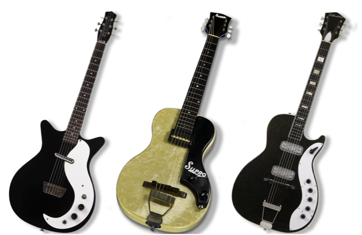 Matt Eichen's inspirations for Musicvox guitars include (from left) Danelectro, Supro Ozark (with a mother-of-toilet-seat finish), and Silvertone, which was sold in Sears stores. Guitar Photography: Bart Hackemack.