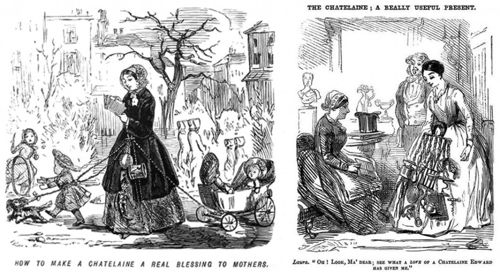 19th Century cartoons mocked the chatelaine's various uses for domestic women.