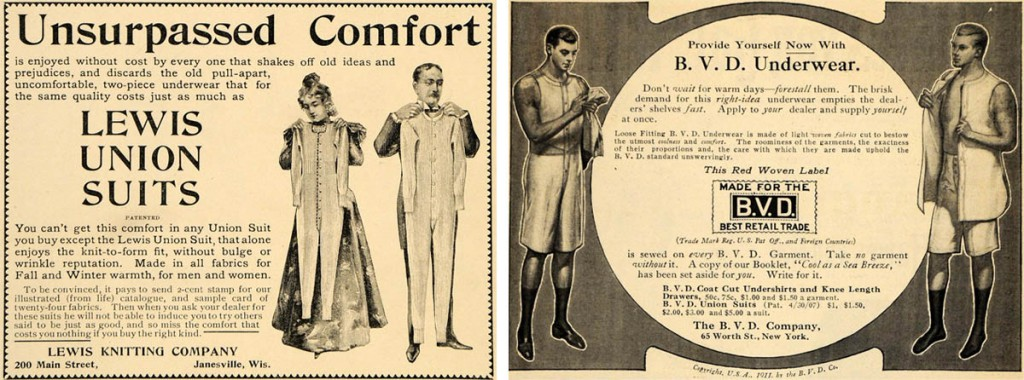 "Top: Underwear is portrayed as essential to the sporting life, in a 1930s ad for ""Skit-Suits."" Above, left: An 1897 Lewis Union Suits ad displays underclothes in the socially accepted manner. Above, right: This B.V.D. ad includes a risque display of male chest, circa 1911."