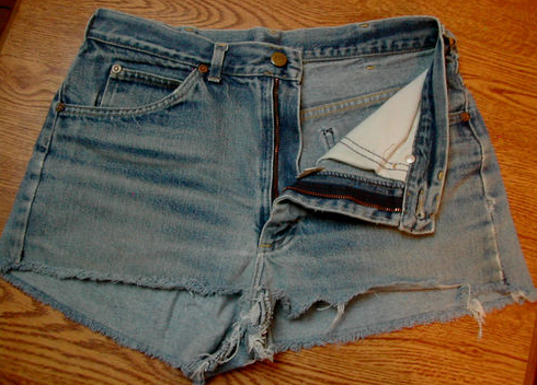 "Included with these cutoffs was this description: ""I had forgotten to bring shorts for the weekend, so the guy I was with, now my husband, helped me out with a pair of borrowed scissors! True story—gosh, I hate giving these up!!!!"""