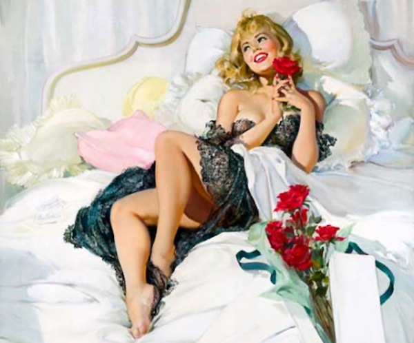 In this Joyce Ballantyne pin-up, a girl swoons over red roses from her sweetheart.