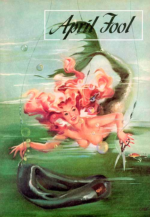 "Ballantyne caused a stir when she painted this topless mischievous mermaid for the family-oriented outdoors magazine ""Sports Afield."""