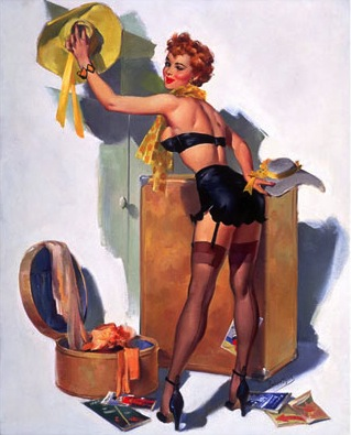This Ballantyne is a rare woman-painted pin-up featuring black stockings, garter belt, and heels.