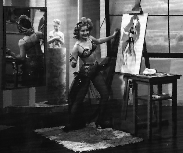 "Top: Pin-ups by (from left) Pearl Frush, Zoë Mozert, and Joyce Ballantyne. Above: Regarding the Paramount Pictures ""Unusual Occupations"" short, ""Zoe,"" the artist told Marianne Ohl Phillips, ""I made that fancy little costume myself. But you know, I could never paint a picture like they had me set up. Not in a million years!"" Via ""Tease!"" Magazine #3."