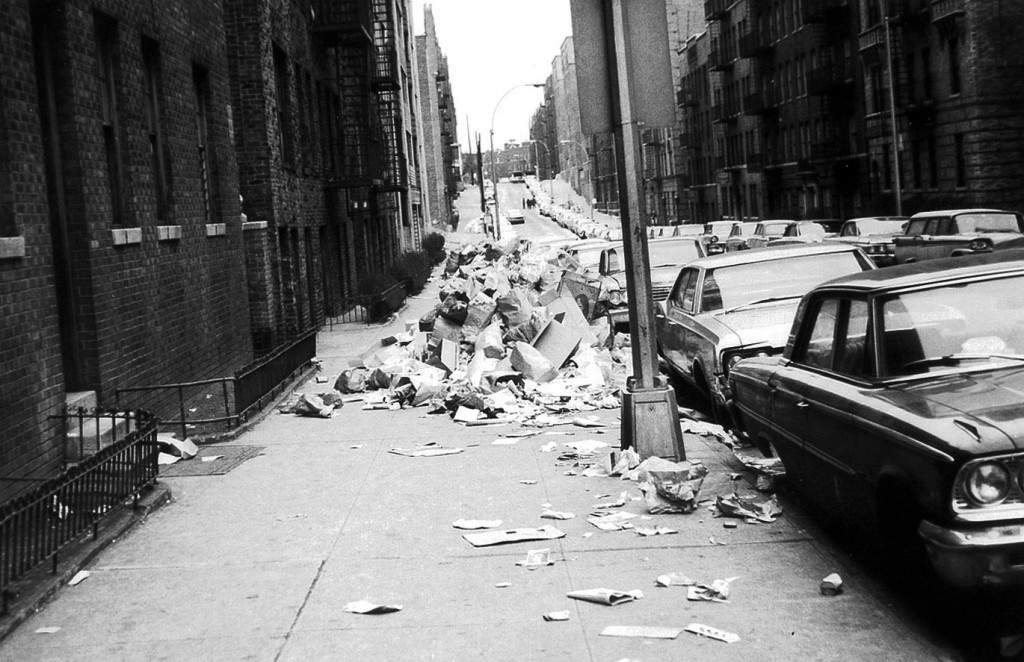 New York City sidewalks filled with trash during the 1968 strike, one of the few moments in the last fifty years that garbage was front and center. Via Dennis Harper's Flickr.