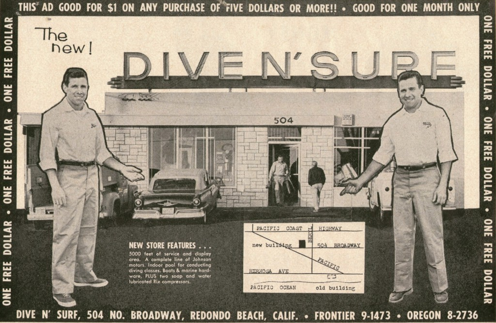 Bill and Bob Meistrell pose in a mid-1950s ad for Dive N' Surf.