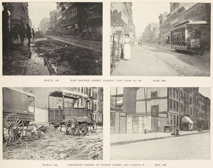 The June 22, 1895, edition of Harper's Weekly compared photos of the same street corners two years earlier to show what an incredible transformation street cleaning had effected.