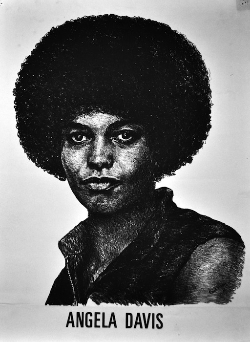 "Images of Angela created for the black community by artists such David Mosley portrayed Davis as a ""strong black sister."""
