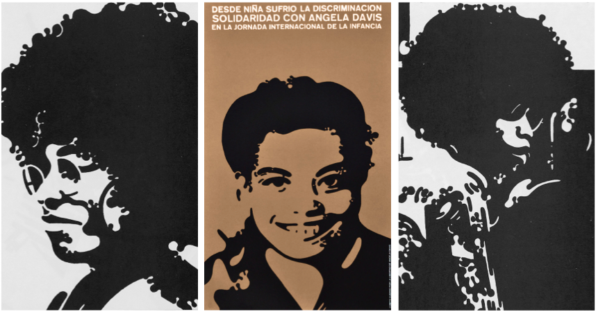 Two images of Angela that Félix Beltrán worked on in 1971 but never developed into posters (at left and right), plus a lesser-known poster (center) he created featuring an image of Angela as a teenager.