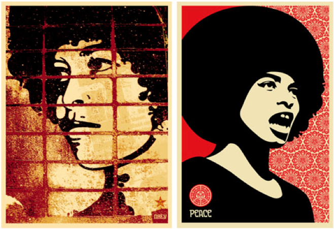 "Artist Shepard Fairey has created numerous posters of Angela Davis. The one on the left, ""Rough Angela,"" 2003, was taken from Félix Beltrán's famous 1971 poster. The one on the right, ""Peace Angela,"" 2005, is based on a Stephen Shames photo from 1972."