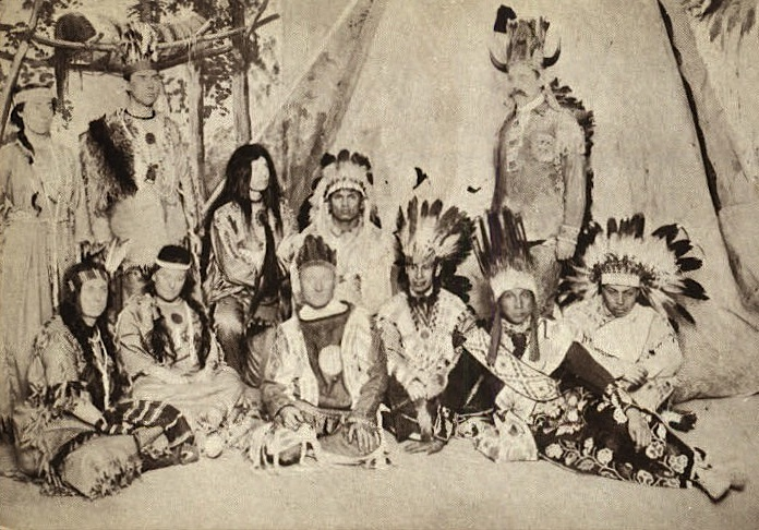 """The World in Boston's"" American Indian Scene, captured on a postcard, was described by the exposition as ""our foreigners at home."""