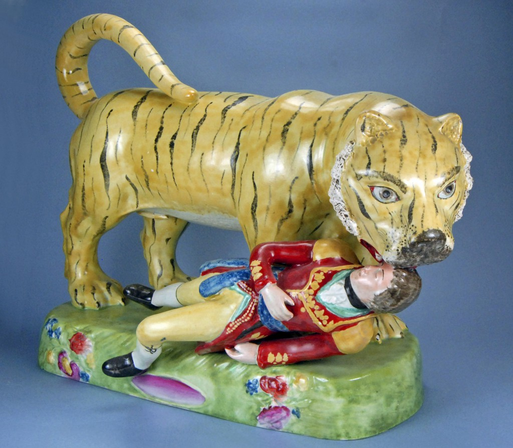 Another violent figurine showed the death of Lt. Hugh Munro, who was attacked by a tiger while hunting in India. The figure was modeled after a life-size automaton created for a Sultan in the Kingdom of Mysore, ostensibly celebrating India's defeat of the British. Photo © Myrna Schkolne 2013