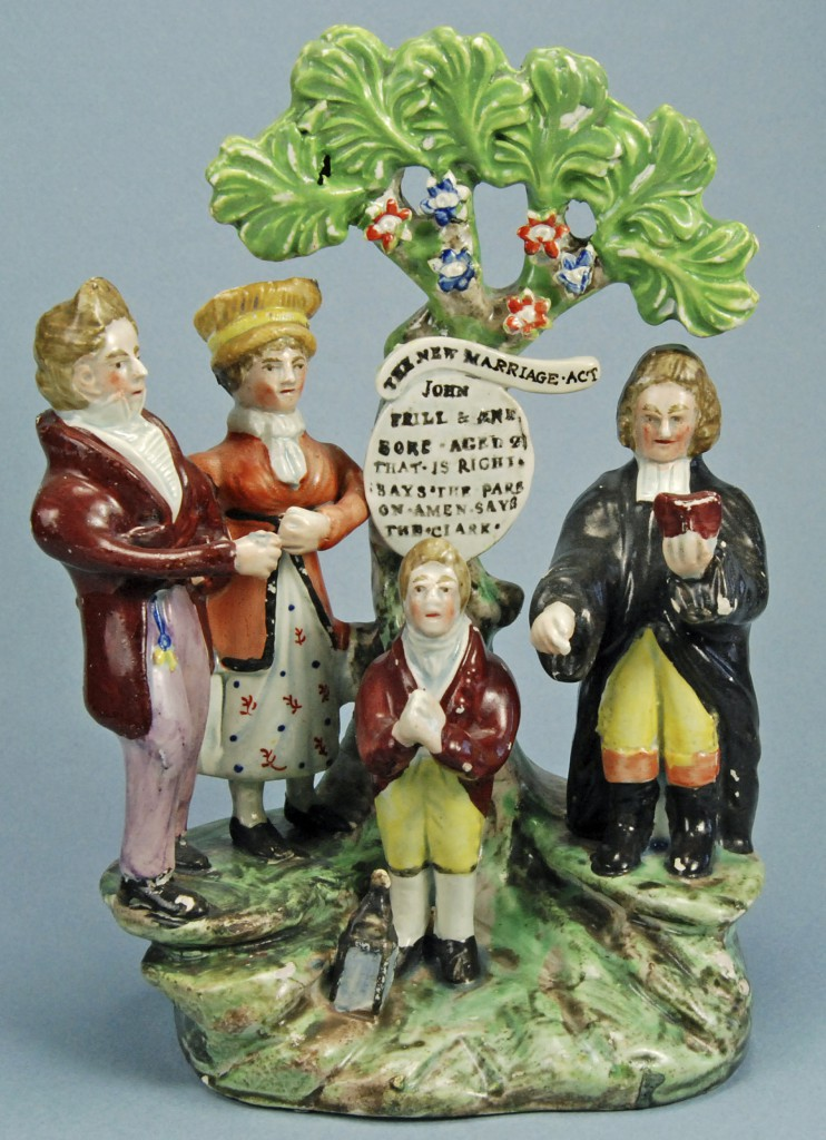 A figure from 1823 celebrating the passage of England's New Marriage Act, which prevented annulment for minor reasons. Photos © Myrna Schkolne 2013