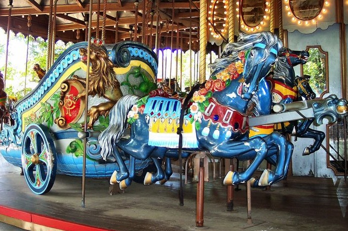A horse appears to pull a Roman chariot with the Philadelphia Toboggan company's logo on the Grand Ole Carousel at Six Flags St. Louis. (© Bette Sue Gray, via carousels.org)