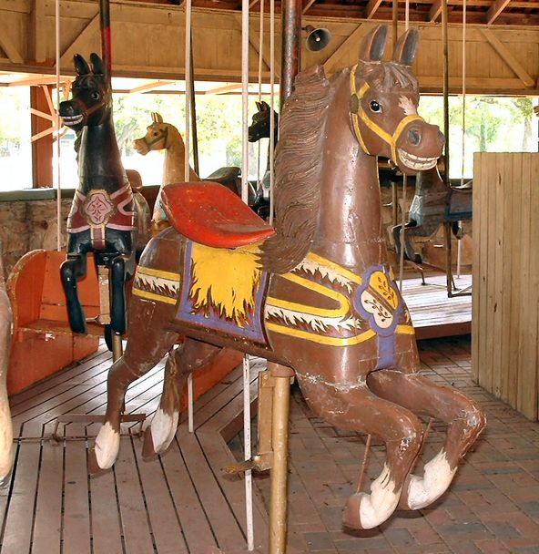 This horse on a 1912 C.W. Parker country-fair carousel at Firemen's Park in Brenham, Texas, was produced for Armitage Herschell and was probably were on a track machine before being converted to a jumper. (© Rebecca Nance, via carousels.org)