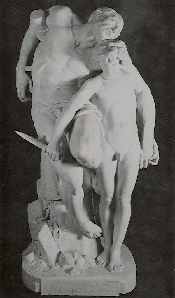 "An 1876 marble sculpture by Louis-Ernest Barris, titled ""Le Serment de Spartacus"" was one of the French artworks in the museum. (Courtesy of LaDonna Osborn)"